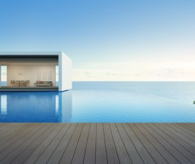 Luxury beach house with sea view pool in modern design Stock Photo 20