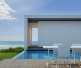 Luxury beach house with sea view pool in modern design Stock Photo 21