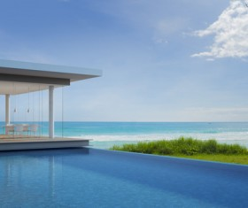 Luxury beach house with sea view pool in modern design Stock Photo 22