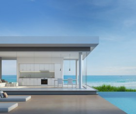 Luxury beach house with sea view pool in modern design Stock Photo 24