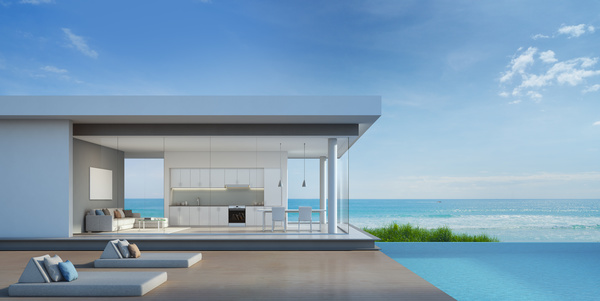 Luxury beach house with sea view pool in modern design - House with a view ...