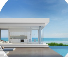 Luxury beach house with sea view pool in modern design Stock Photo 25