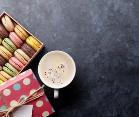 Macaron in the box with coffee Stock Photo