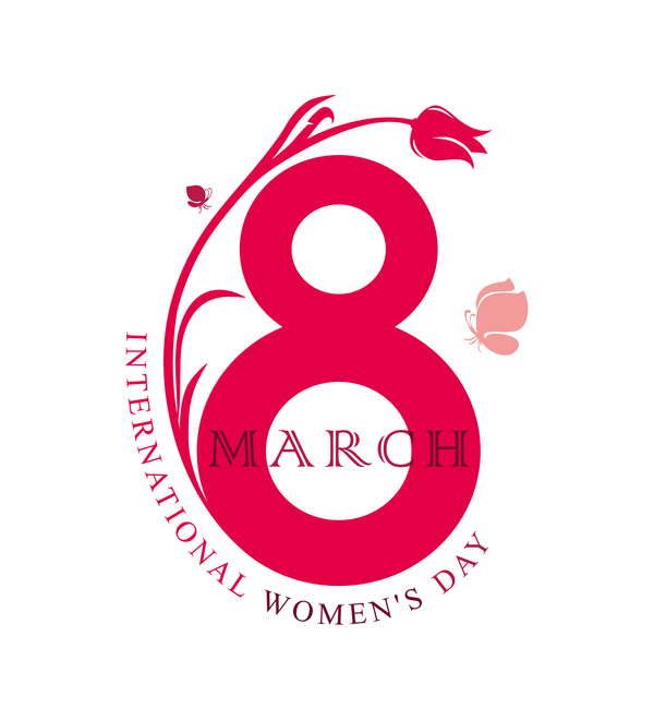 March 8 Happy Women Day Flat Simple Symbol Eight With Flower And