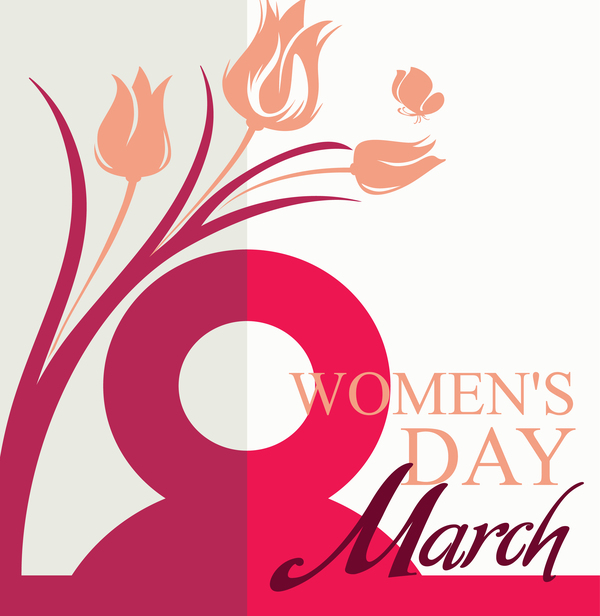 March 8 Women Day card with flowers tulip and butterfly vector 01