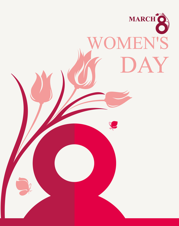 March 8 Women Day card with flowers tulip and butterfly vector 02