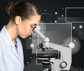 Medical laboratory woman working with A microscope 05