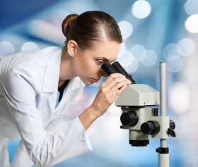 Medical laboratory woman working with A microscope 08