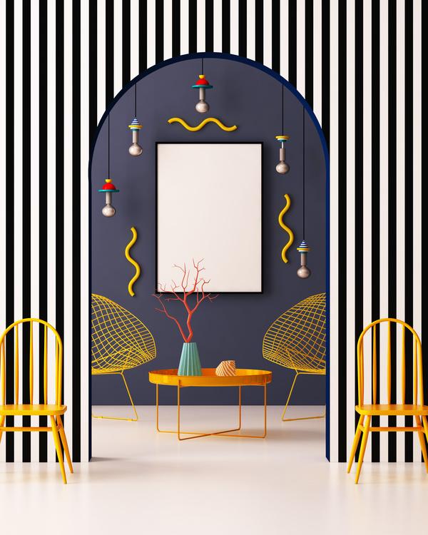 Memphis Style Interior Decoration Stock Photo 24