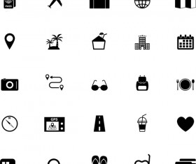 Mini black travel icons set 01