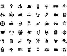 Mini black travel icons set 02