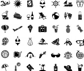 Mini black travel icons set 03