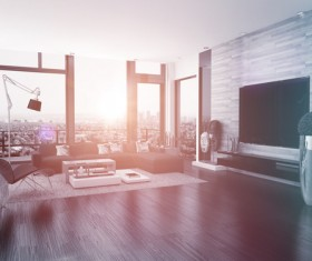 Modern bright and spacious living room Stock Photo