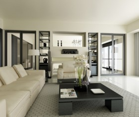 Modern loft with A kitchen and living room Stock Photo 02