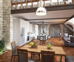 Modern loft with A kitchen and living room Stock Photo 09