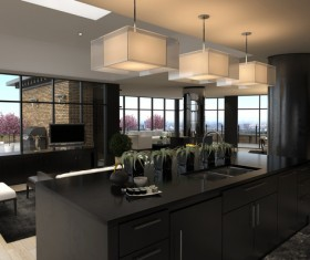 Modern loft with A kitchen and living room Stock Photo 10