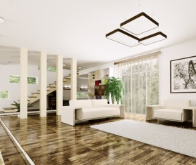 Modern loft with A kitchen and living room Stock Photo 13