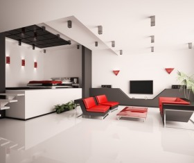 Modern loft with A kitchen and living room Stock Photo 22