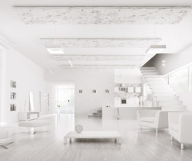 Modern loft with a kitchen and living room Stock Photo 03