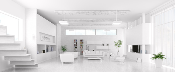 Modern loft with a kitchen and living room Stock Photo 04