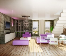 Modern loft with a kitchen and living room Stock Photo 17