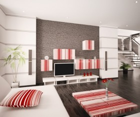 Modern loft with a kitchen and living room Stock Photo 18