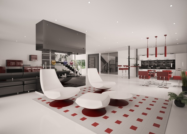 Modern loft with a kitchen and living room Stock Photo 20