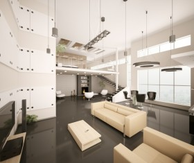 Modern loft with a kitchen and living room Stock Photo 21
