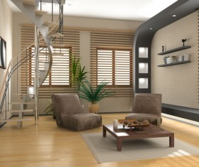 Modern loft with a kitchen and living room Stock Photo 24