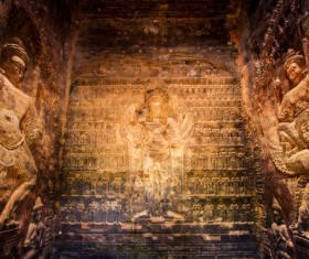 Mogao Grottoes within the Buddha statue HD picture