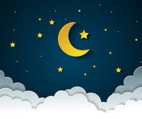 Moon with stars and cloud in nightime cartoon vector