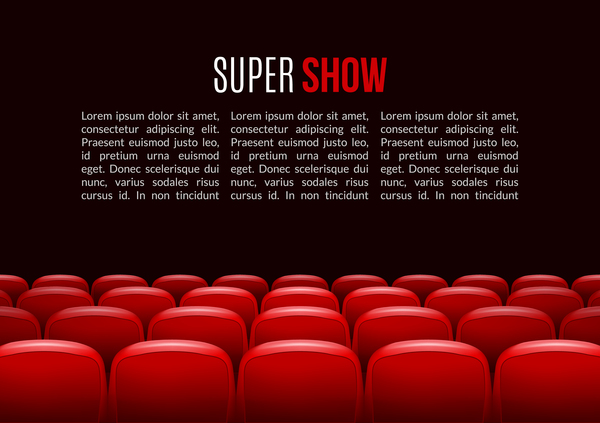 Movie Theater Background With Red Seats Vector 03 Free Download