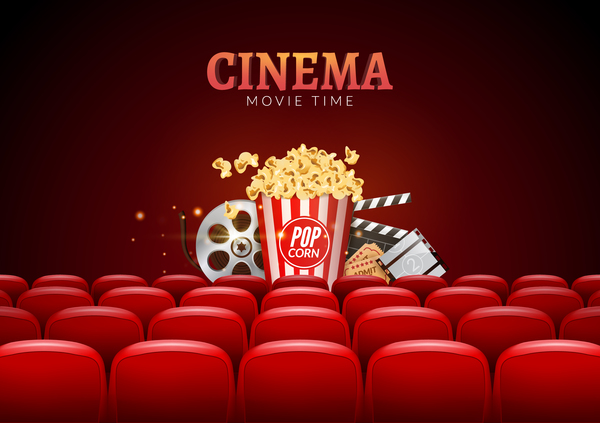 Movie Theater Background With Red Seats Vector 05 Vector