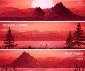 Nature landscape banners template vectors material 01