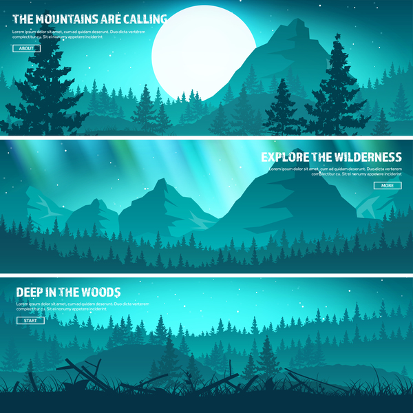 Nature landscape banners template vectors material 03 free download