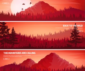 Nature landscape banners template vectors material 04