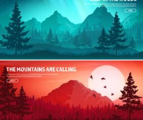 Nature landscape banners template vectors material 07