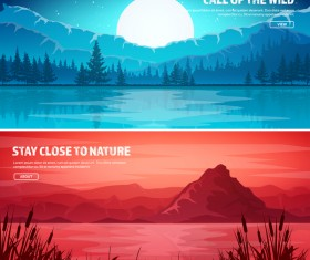 Nature landscape banners template vectors material 08