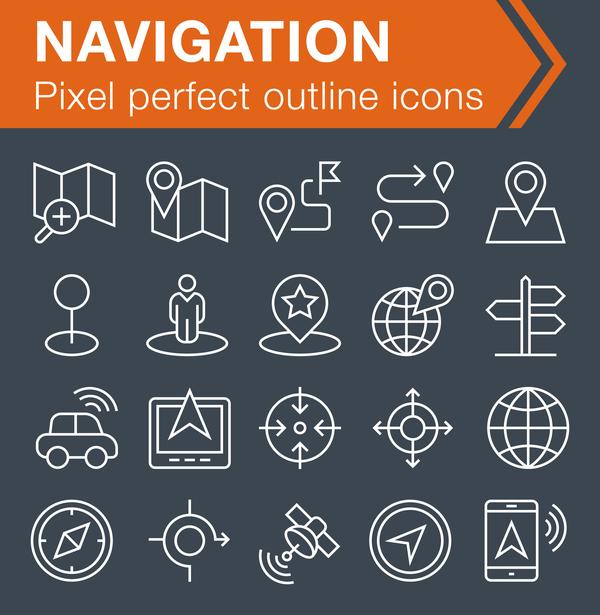 Navigation icons set