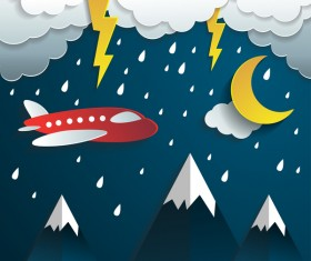 Night time rain with aircraft cartoon vector