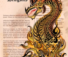 Old paper background with dragon ancient vector 01