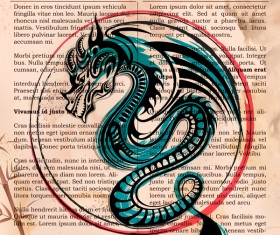 Old paper background with dragon ancient vector 02