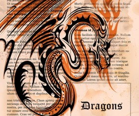 Old paper background with dragon ancient vector 03