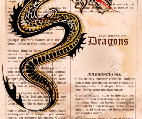 Old paper background with dragon ancient vector 04
