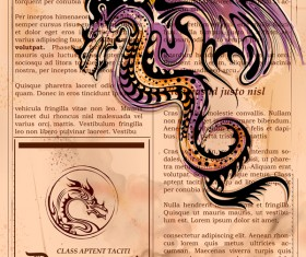 Old paper background with dragon ancient vector 05