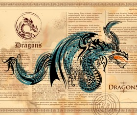 Old paper background with dragon ancient vector 06