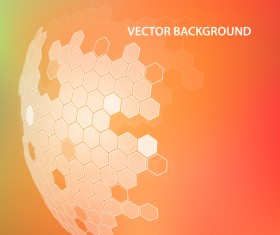 Orange background with hexagonal spherical vector
