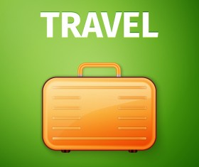 Orange suitcase with green travel background vector