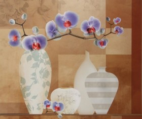 Orchid decorative painting Stock Photo