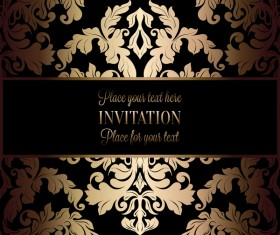 Ornate floral invitation card with luxury background vector 05